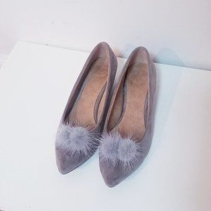 Beige Grey Suede Pointed Toe Flats with Pom Poms